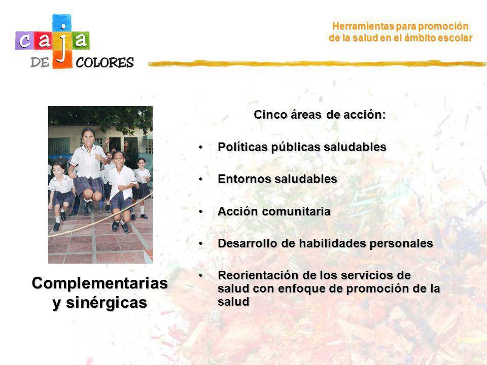 Complementarias y sinérgicas Herramientas para promoción de la salud en el ámbito escolar Cinco áreas de acción: Políticas públicas saludablesPolítica