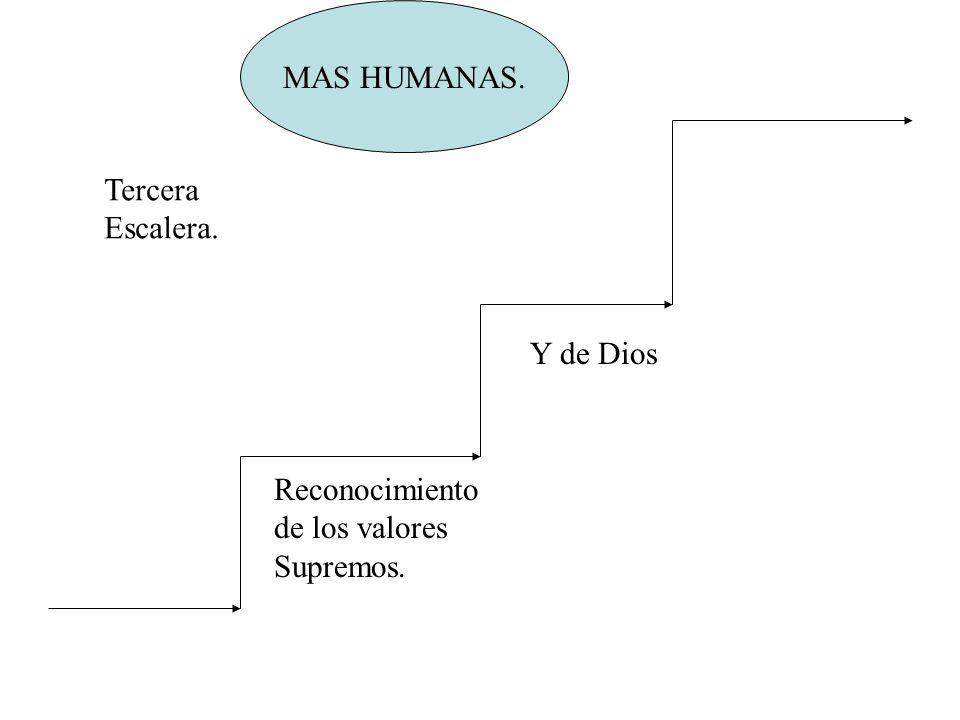 MAS HUMANAS. Reconocimiento de los valores Supremos. Y de Dios Tercera Escalera.