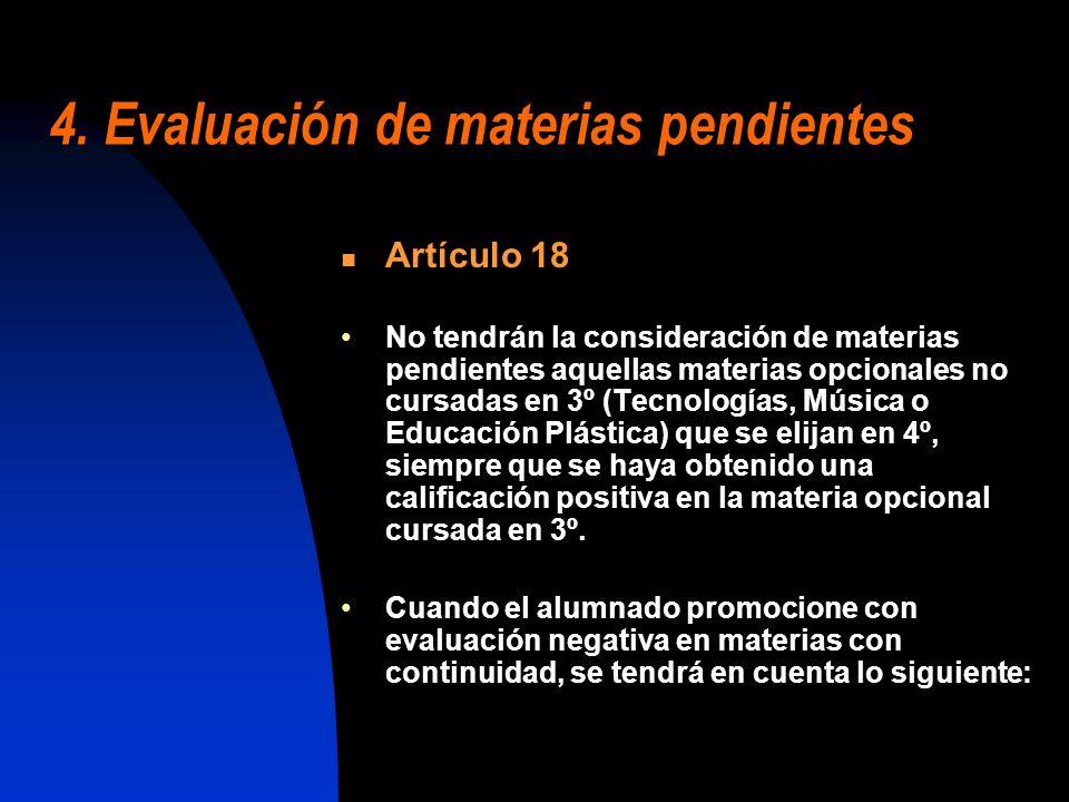 4. Evaluación de materias pendientes Artículo 18 No tendrán la consideración de materias pendientes aquellas materias opcionales no cursadas en 3º (Te