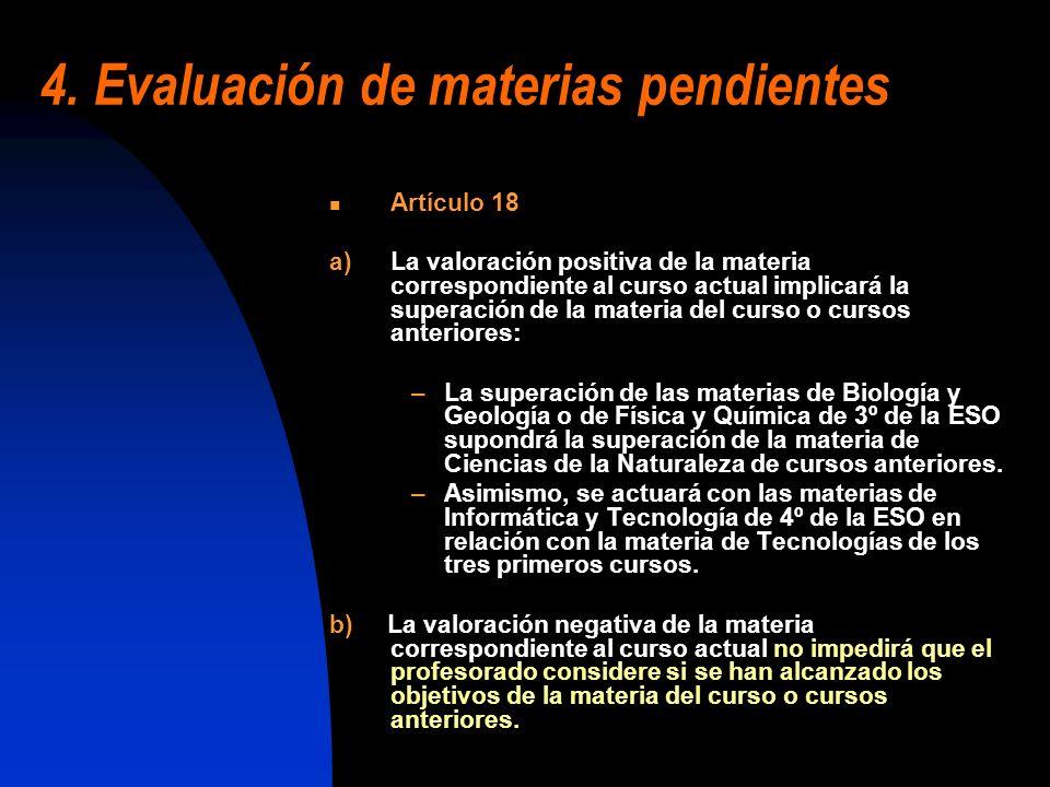 4. Evaluación de materias pendientes Artículo 18 a)La valoración positiva de la materia correspondiente al curso actual implicará la superación de la