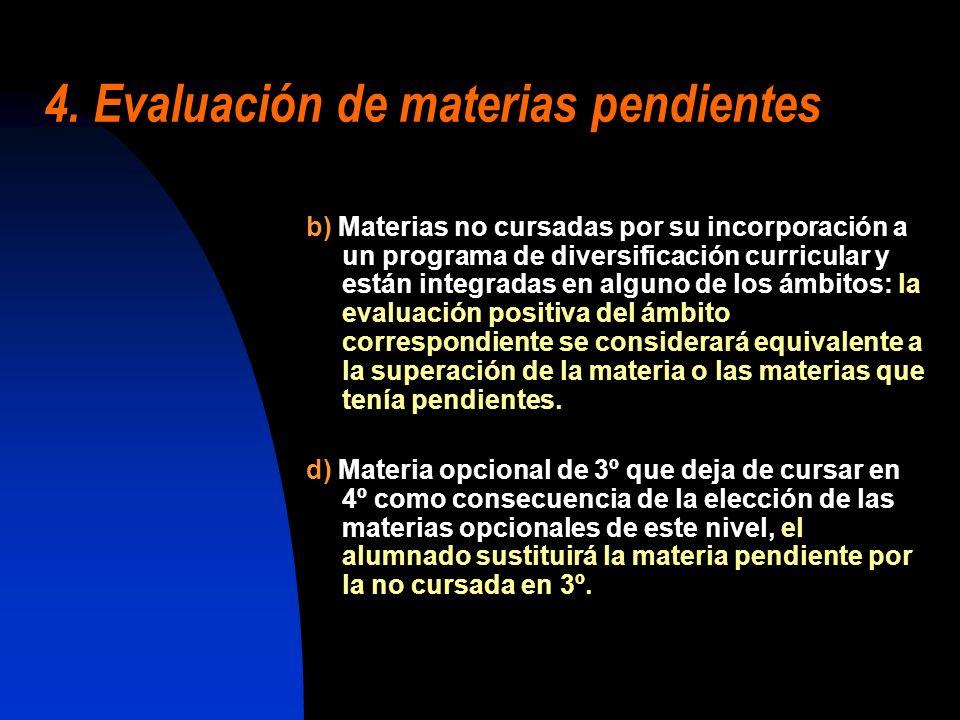 b) Materias no cursadas por su incorporación a un programa de diversificación curricular y están integradas en alguno de los ámbitos: la evaluación po