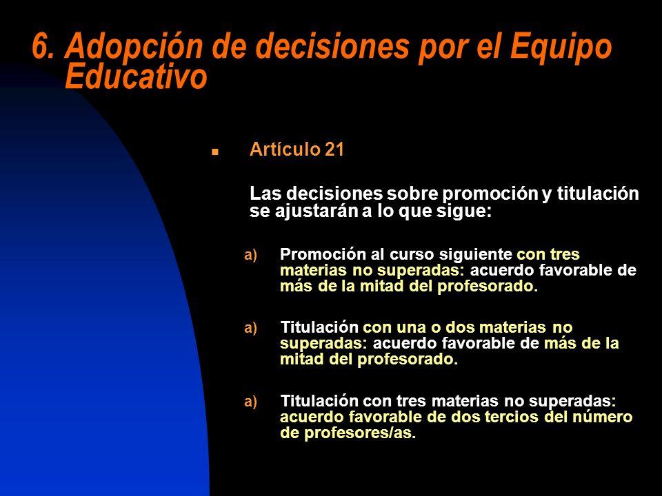 6. Adopción de decisiones por el Equipo Educativo Artículo 21 Las decisiones sobre promoción y titulación se ajustarán a lo que sigue: a) Promoción al
