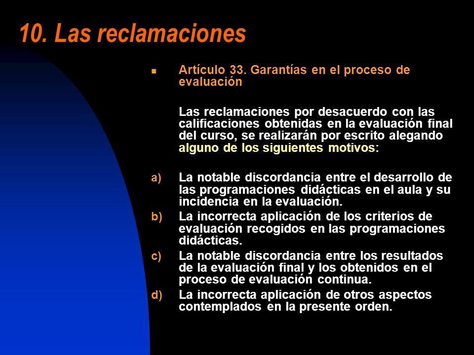 10. Las reclamaciones Artículo 33. Garantías en el proceso de evaluación Las reclamaciones por desacuerdo con las calificaciones obtenidas en la evalu