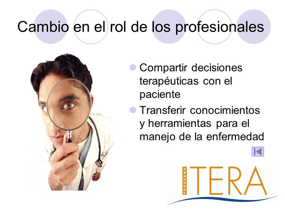 Cambio en el rol de los profesionales Compartir decisiones terapéuticas con el paciente Transferir conocimientos y herramientas para el manejo de la e