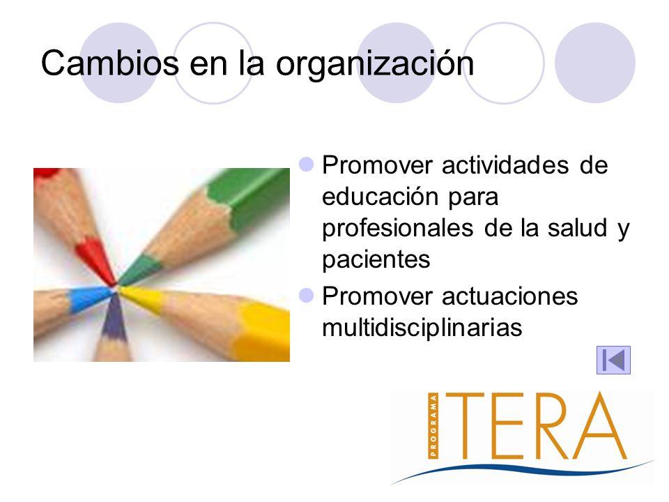 Cambios en la organización Promover actividades de educación para profesionales de la salud y pacientes Promover actuaciones multidisciplinarias
