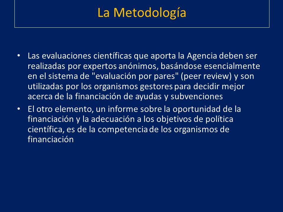 La Metodología Las evaluaciones científicas que aporta la Agencia deben ser realizadas por expertos anónimos, basándose esencialmente en el sistema de