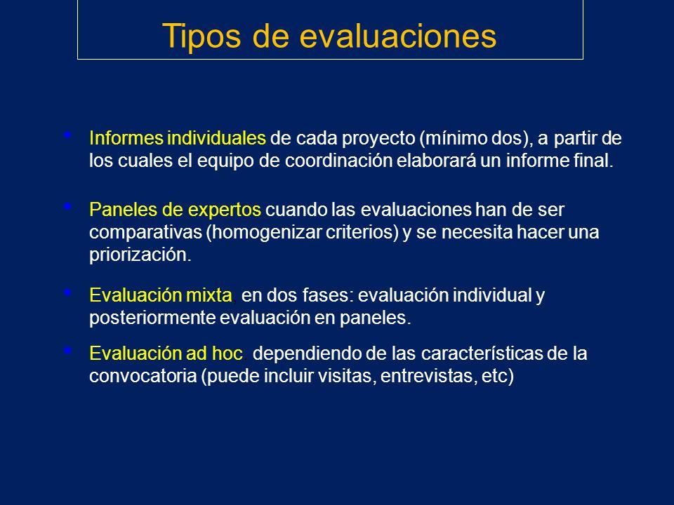 Informes individuales de cada proyecto (mínimo dos), a partir de los cuales el equipo de coordinación elaborará un informe final. Tipos de evaluacione