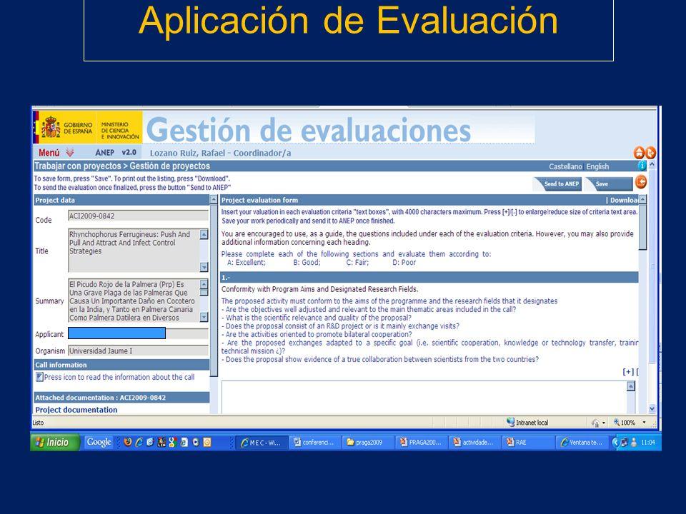 Aplicación de Evaluación