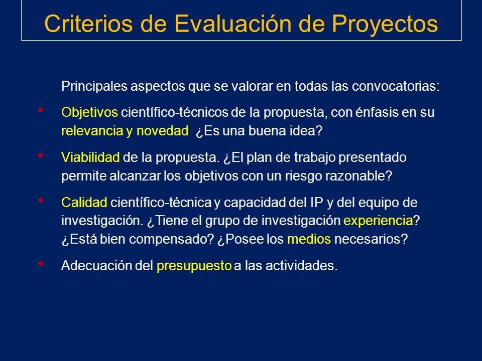 Criterios de Evaluación de Proyectos Principales aspectos que se valorar en todas las convocatorias: Objetivos científico-técnicos de la propuesta, co