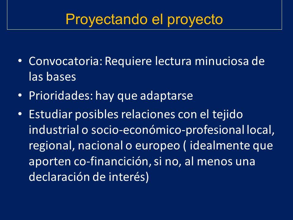 Convocatoria: Requiere lectura minuciosa de las bases Prioridades: hay que adaptarse Estudiar posibles relaciones con el tejido industrial o socio-eco