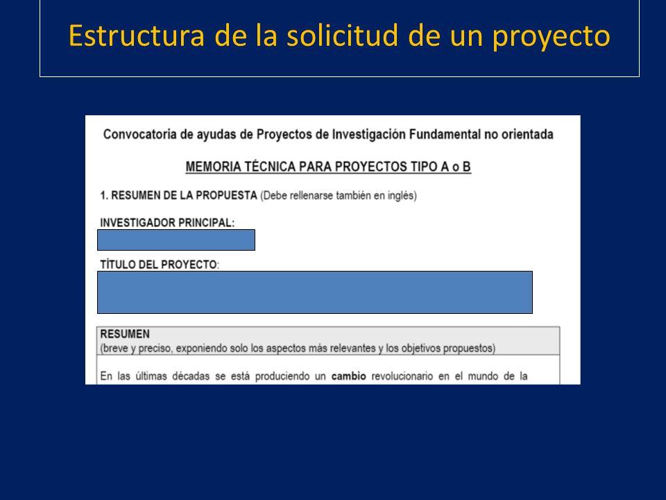Estructura de la solicitud de un proyecto