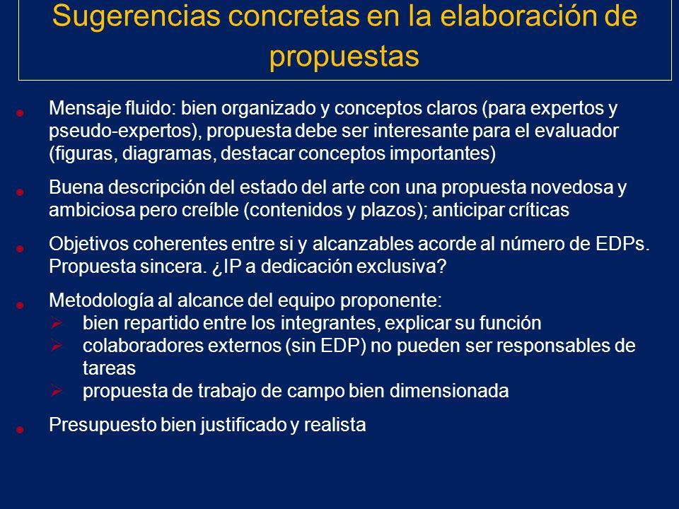 Sugerencias concretas en la elaboración de propuestas Mensaje fluido: bien organizado y conceptos claros (para expertos y pseudo-expertos), propuesta