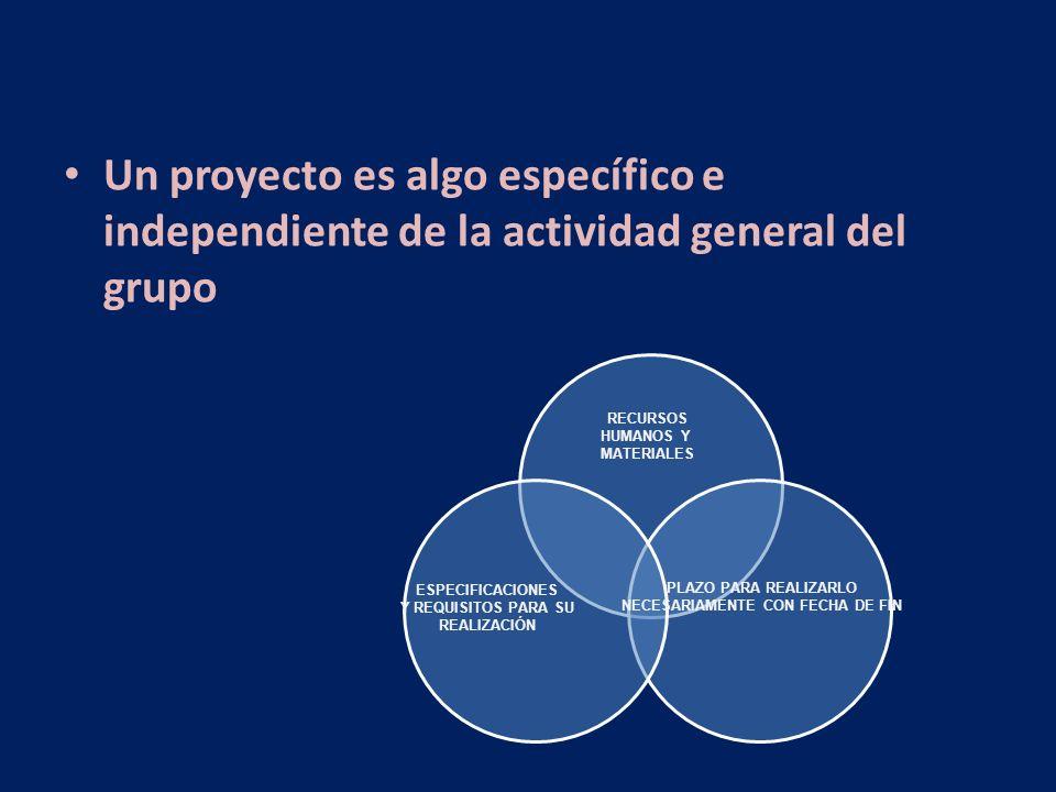 Un proyecto es algo específico e independiente de la actividad general del grupo RECURSOS HUMANOS Y MATERIALES ESPECIFICACIONES Y REQUISITOS PARA SU R