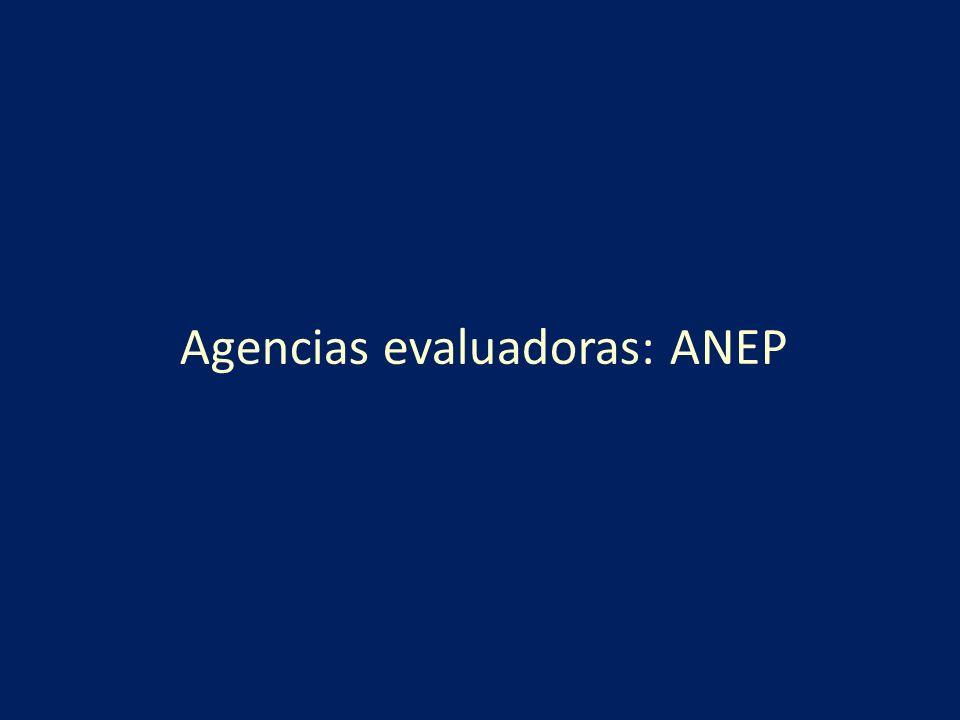 Proceso de Evaluación y Selección Cada propuesta se evalúa en un proceso de dos fases La primera fase es peer review, por expertos seleccionados por los coordinadores de la ANEP El informe de la ANEP lo redactan los coordinadores, basándose en los informes de los expertos La evaluación se hace en una aplicación web Se evalúa a los evaluadores (calidad del informe, disparidad, tiempo..) 15% de revisores internacionales La segunda es una comisión de evaluación (ANEP+ Institución) con expertos científicos o técnicos: SELECCIÓN