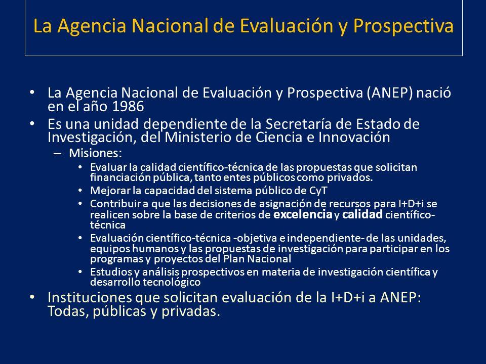 La Agencia Nacional de Evaluación y Prospectiva La Agencia Nacional de Evaluación y Prospectiva (ANEP) nació en el año 1986 Es una unidad dependiente