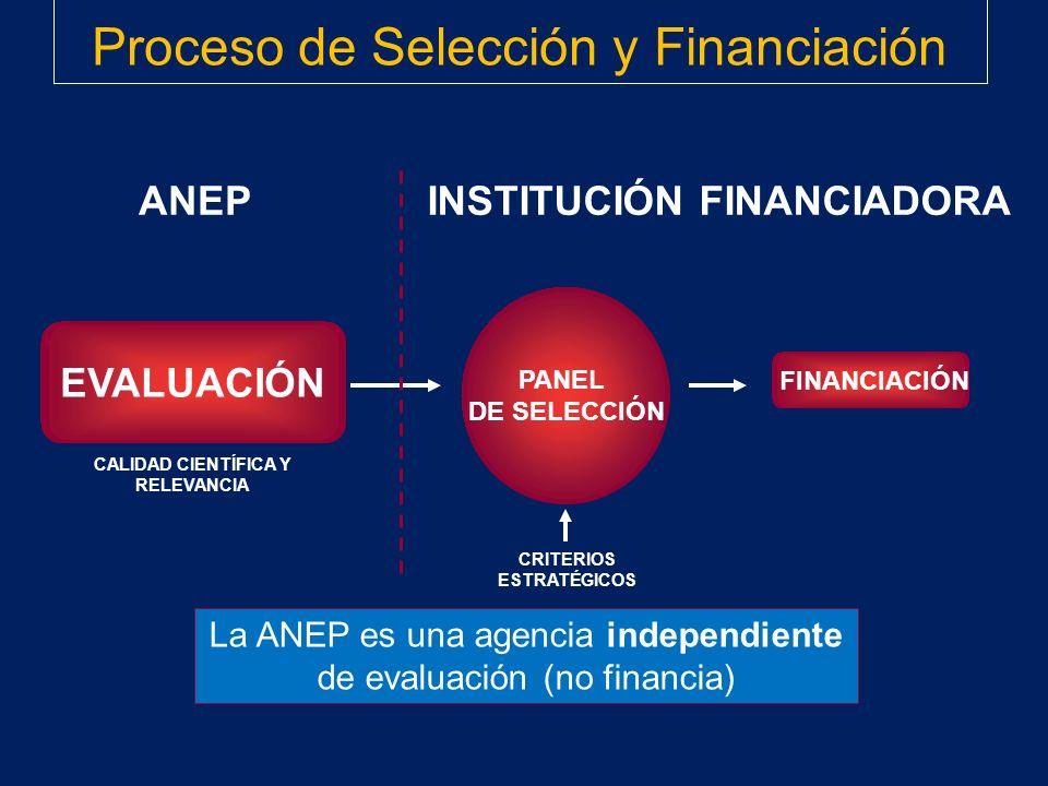 CALIDAD CIENTÍFICA Y RELEVANCIA CRITERIOS ESTRATÉGICOS PANEL DE SELECCIÓN EVALUACIÓN FINANCIACIÓN La ANEP es una agencia independiente de evaluación (