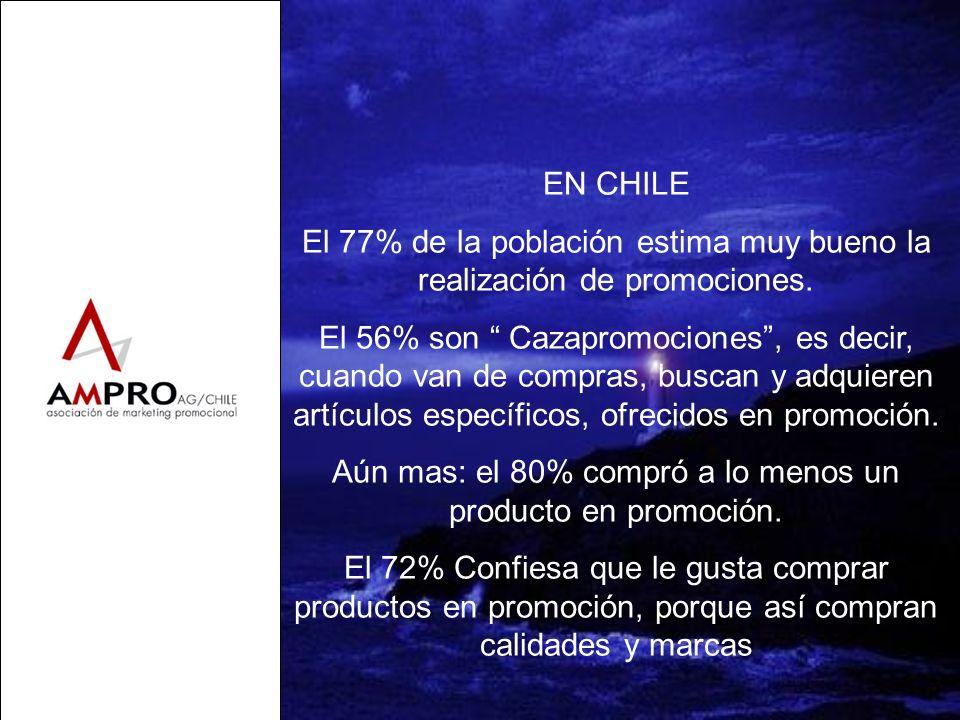 EN CHILE El 77% de la población estima muy bueno la realización de promociones. El 56% son Cazapromociones, es decir, cuando van de compras, buscan y