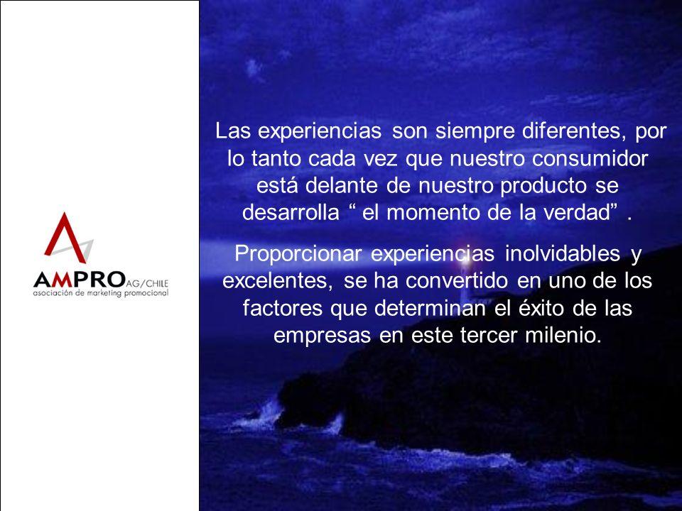Las experiencias son siempre diferentes, por lo tanto cada vez que nuestro consumidor está delante de nuestro producto se desarrolla el momento de la
