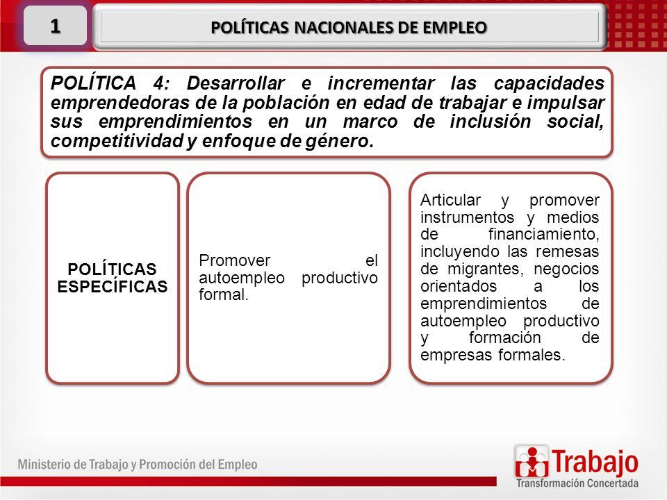 POLÍTICA 4: Desarrollar e incrementar las capacidades emprendedoras de la población en edad de trabajar e impulsar sus emprendimientos en un marco de