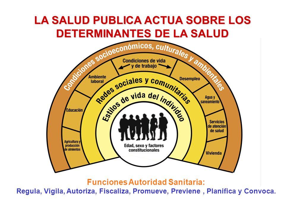 LA SALUD PUBLICA ACTUA SOBRE LOS DETERMINANTES DE LA SALUD Funciones Autoridad Sanitaria: Regula, Vigila, Autoriza, Fiscaliza, Promueve, Previene, Pla