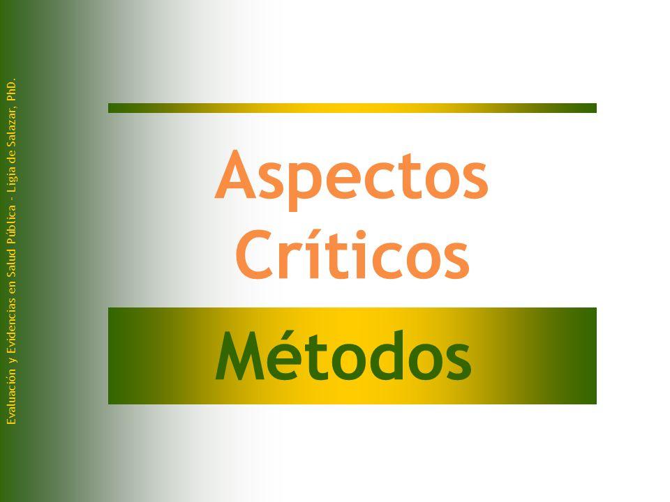 Evaluación y Evidencias en Salud Pública - Ligia de Salazar, PhD. Aspectos Críticos Métodos