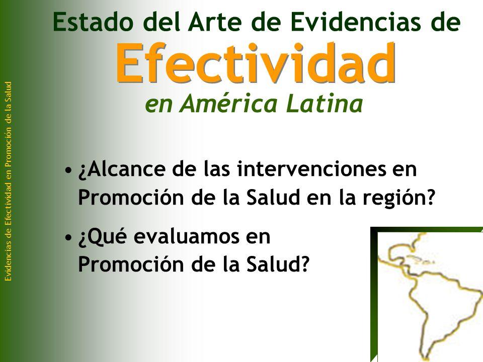 Evidencias de Efectividad en Promoción de la Salud ¿Alcance de las intervenciones en Promoción de la Salud en la región.