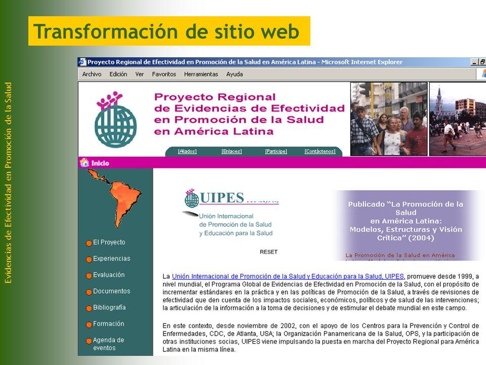 Evidencias de Efectividad en Promoción de la Salud Transformación de sitio web