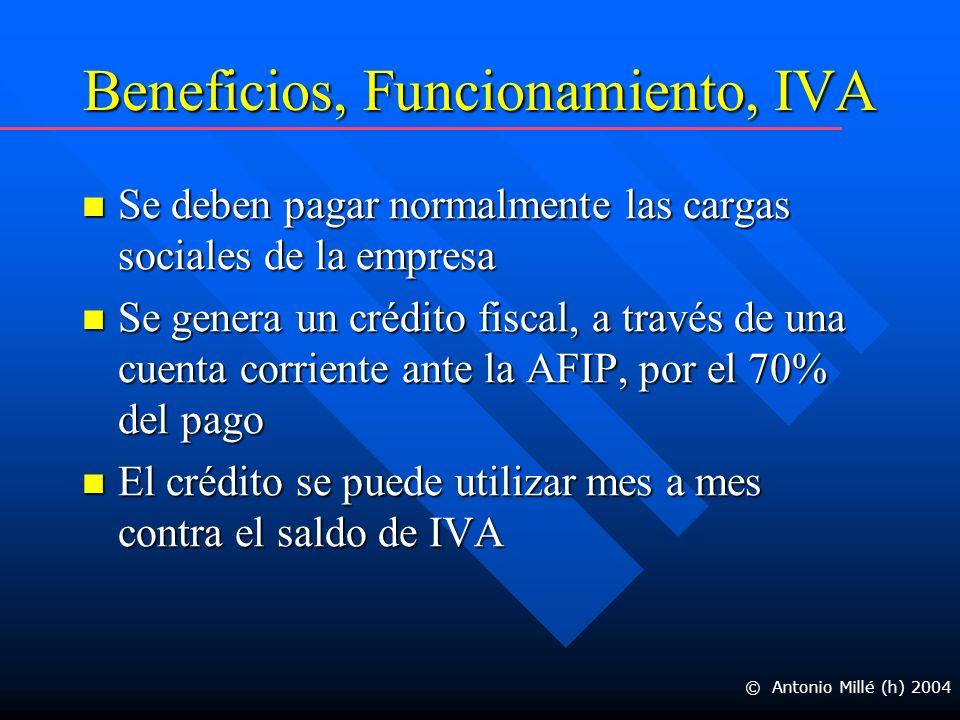 Beneficios, Funcionamiento, IVA Se deben pagar normalmente las cargas sociales de la empresa Se deben pagar normalmente las cargas sociales de la empresa Se genera un crédito fiscal, a través de una cuenta corriente ante la AFIP, por el 70% del pago Se genera un crédito fiscal, a través de una cuenta corriente ante la AFIP, por el 70% del pago El crédito se puede utilizar mes a mes contra el saldo de IVA El crédito se puede utilizar mes a mes contra el saldo de IVA © Antonio Millé (h) 2004