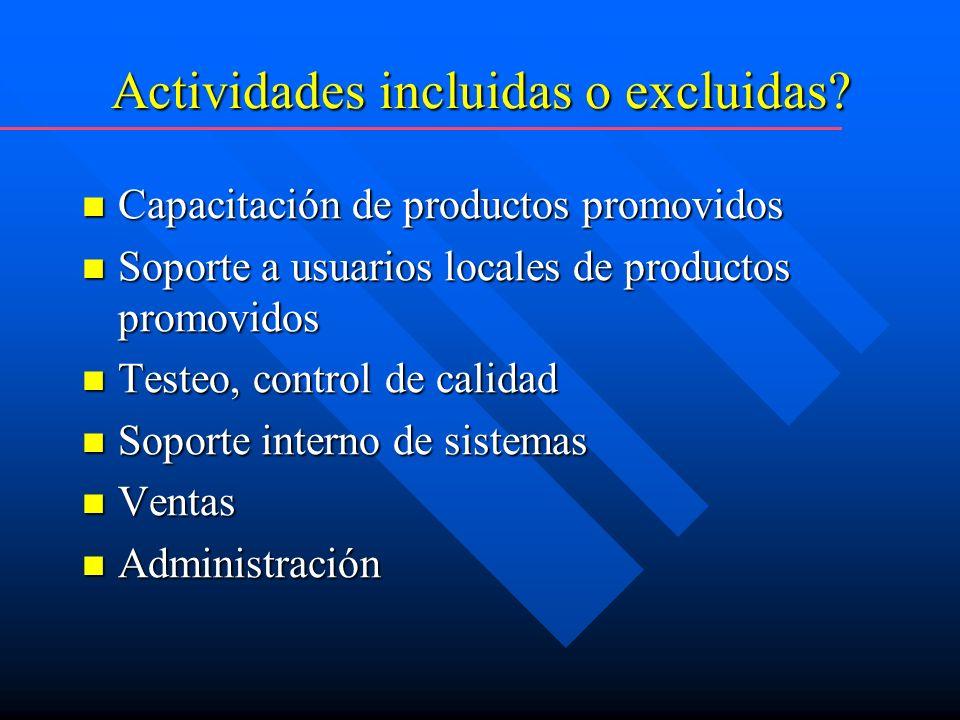 Actividades incluidas o excluidas.
