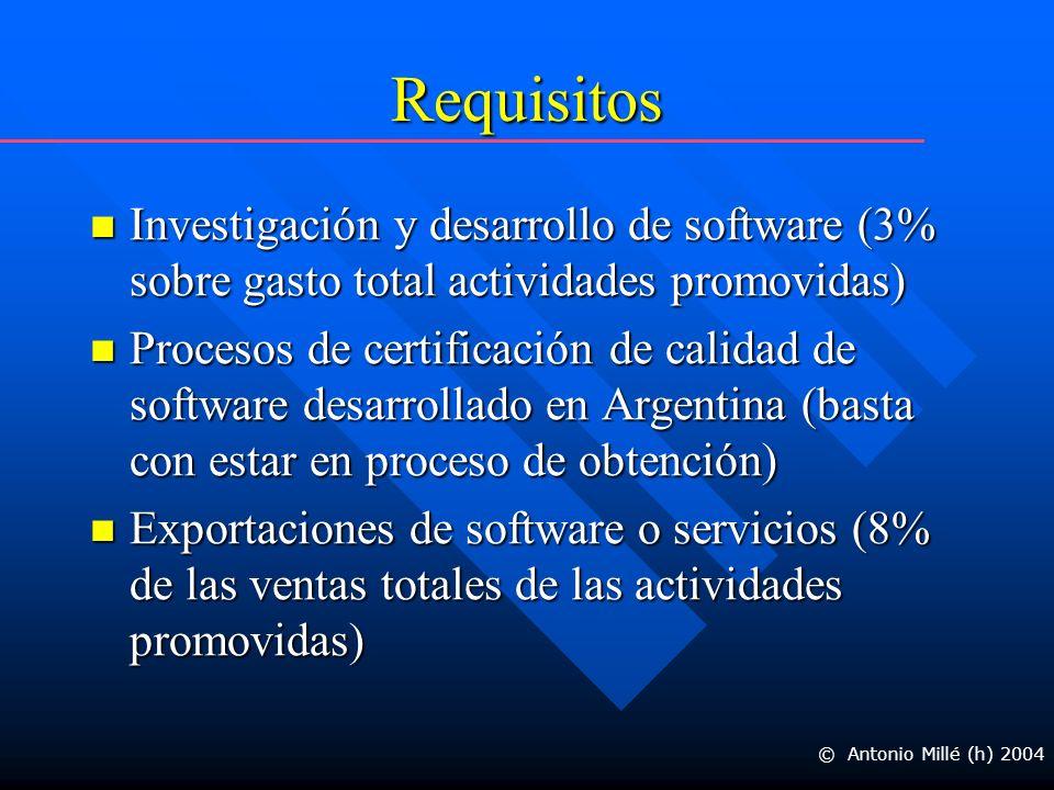 Requisitos Investigación y desarrollo de software (3% sobre gasto total actividades promovidas) Investigación y desarrollo de software (3% sobre gasto total actividades promovidas) Procesos de certificación de calidad de software desarrollado en Argentina (basta con estar en proceso de obtención) Procesos de certificación de calidad de software desarrollado en Argentina (basta con estar en proceso de obtención) Exportaciones de software o servicios (8% de las ventas totales de las actividades promovidas) Exportaciones de software o servicios (8% de las ventas totales de las actividades promovidas) © Antonio Millé (h) 2004
