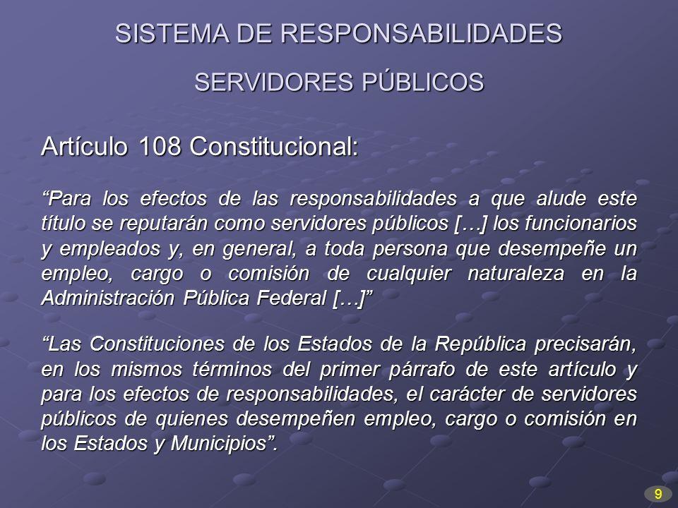 SERVIDORES PÚBLICOS Artículo 108 Constitucional: Para los efectos de las responsabilidades a que alude este título se reputarán como servidores públic