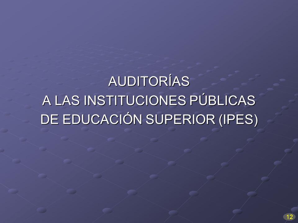 AUDITORÍAS A LAS INSTITUCIONES PÚBLICAS DE EDUCACIÓN SUPERIOR (IPES) 12