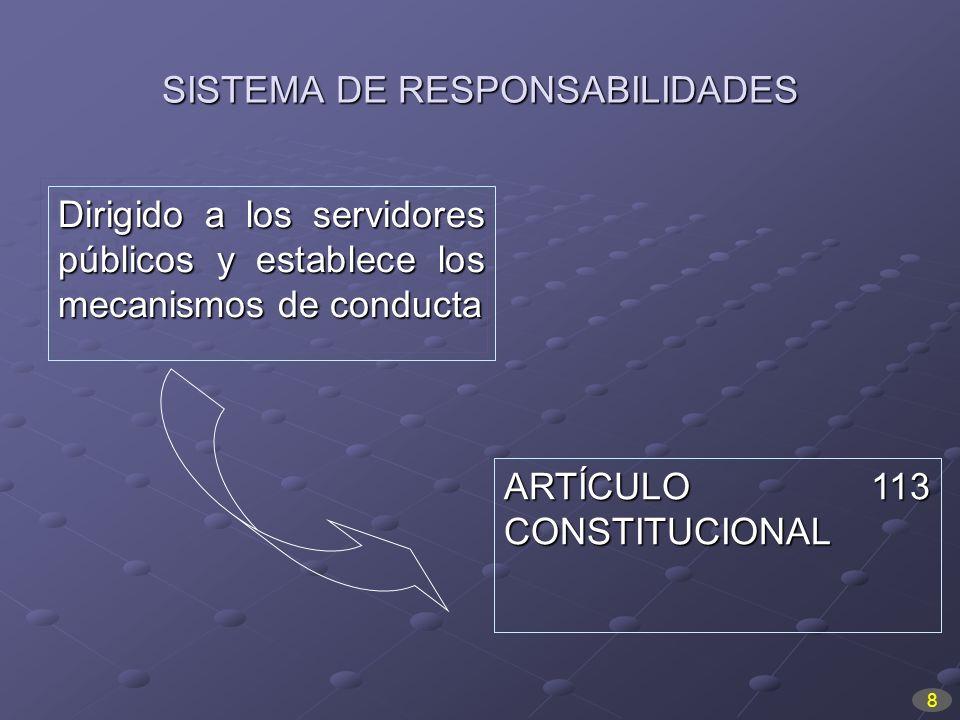 SISTEMA DE RESPONSABILIDADES Dirigido a los servidores públicos y establece los mecanismos de conducta ARTÍCULO 113 CONSTITUCIONAL 8