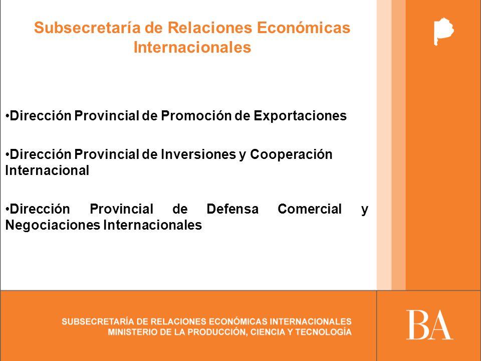 Subsecretaría de Relaciones Económicas Internacionales Dirección Provincial de Promoción de Exportaciones Dirección Provincial de Inversiones y Cooperación Internacional Dirección Provincial de Defensa Comercial y Negociaciones Internacionales