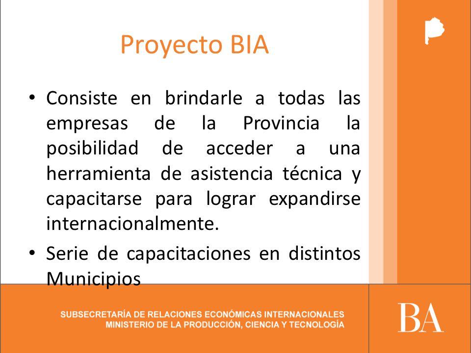 Proyecto BIA Consiste en brindarle a todas las empresas de la Provincia la posibilidad de acceder a una herramienta de asistencia técnica y capacitarse para lograr expandirse internacionalmente.