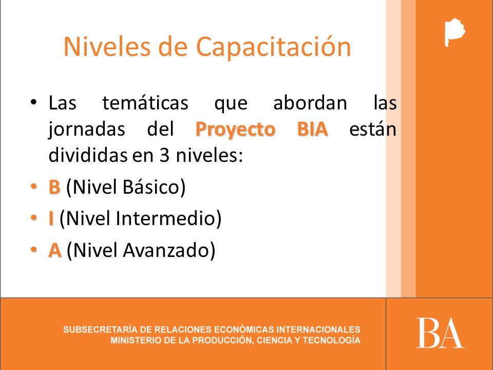 Niveles de Capacitación Proyecto BIA Las temáticas que abordan las jornadas del Proyecto BIA están divididas en 3 niveles: B B (Nivel Básico) I I (Nivel Intermedio) A A (Nivel Avanzado)