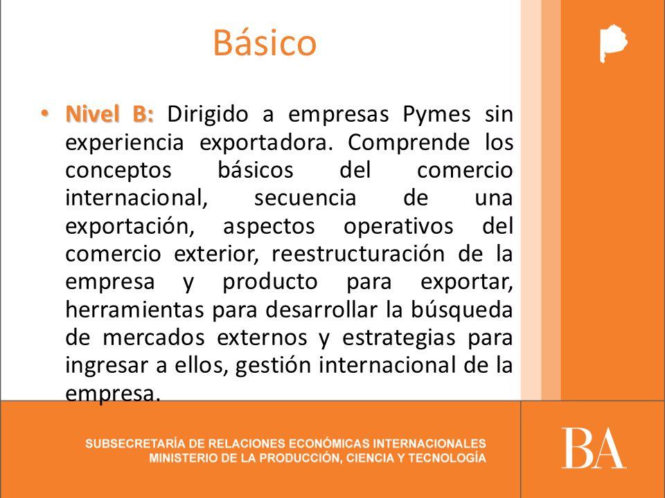 Básico Nivel B: Nivel B: Dirigido a empresas Pymes sin experiencia exportadora.
