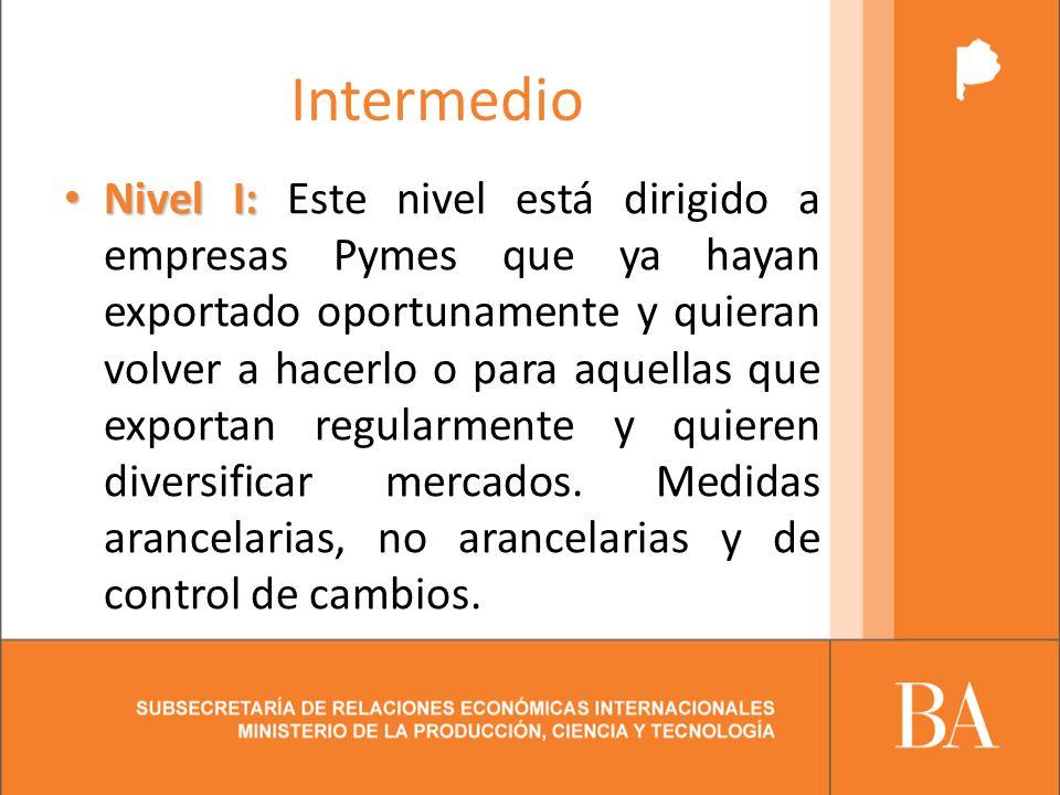 Intermedio Nivel I: Nivel I: Este nivel está dirigido a empresas Pymes que ya hayan exportado oportunamente y quieran volver a hacerlo o para aquellas que exportan regularmente y quieren diversificar mercados.