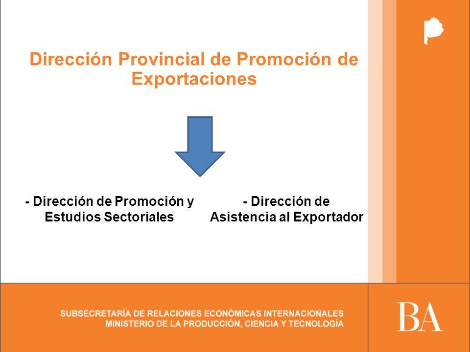 Dirección Provincial de Promoción de Exportaciones - Dirección de Promoción y Estudios Sectoriales - Dirección de Asistencia al Exportador