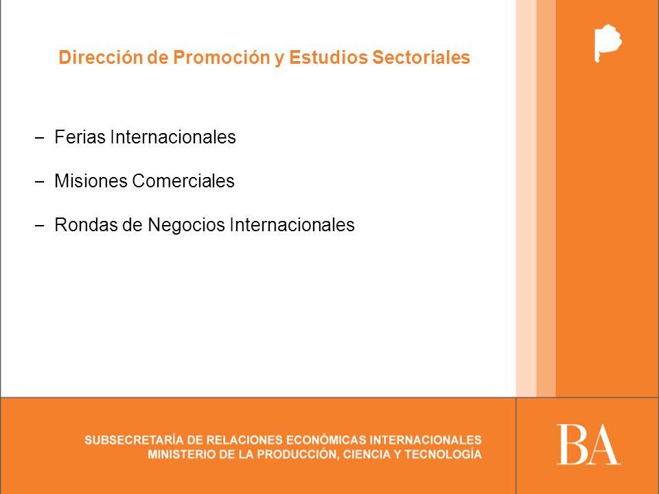 Dirección de Promoción y Estudios Sectoriales – Ferias Internacionales – Misiones Comerciales – Rondas de Negocios Internacionales