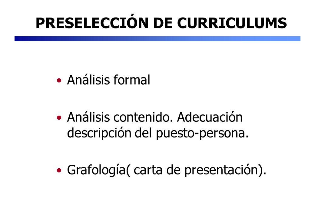 Análisis formal Análisis contenido. Adecuación descripción del puesto-persona. Grafología( carta de presentación). PRESELECCIÓN DE CURRICULUMS