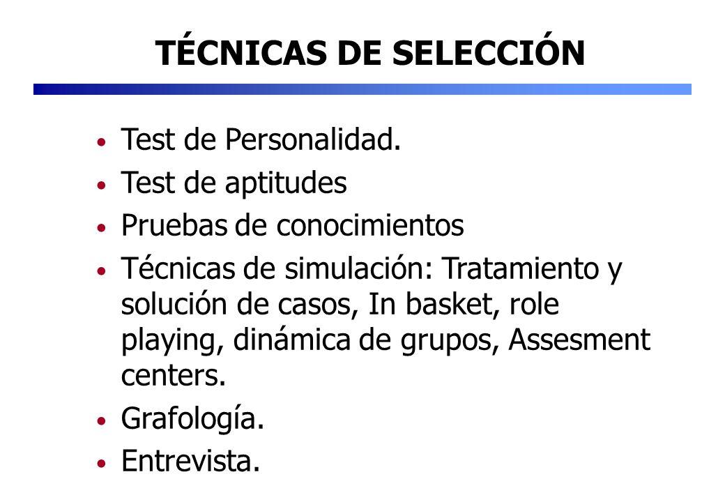 Test de Personalidad. Test de aptitudes Pruebas de conocimientos Técnicas de simulación: Tratamiento y solución de casos, In basket, role playing, din