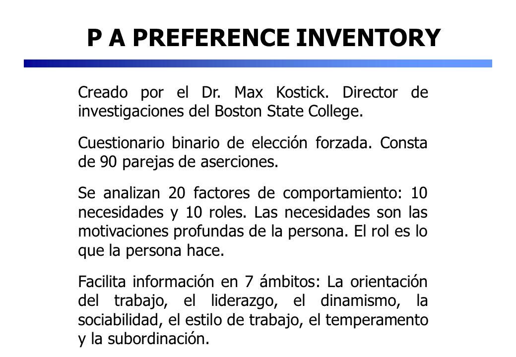 P A PREFERENCE INVENTORY Creado por el Dr. Max Kostick. Director de investigaciones del Boston State College. Cuestionario binario de elección forzada