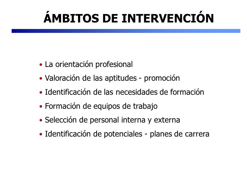 ÁMBITOS DE INTERVENCIÓN La orientación profesional Valoración de las aptitudes - promoción Identificación de las necesidades de formación Formación de