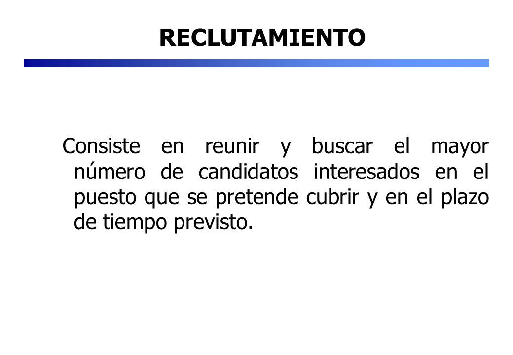 Consiste en reunir y buscar el mayor número de candidatos interesados en el puesto que se pretende cubrir y en el plazo de tiempo previsto. RECLUTAMIE