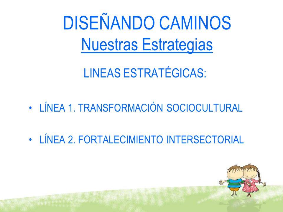 LINEAS ESTRATÉGICAS: LÍNEA 1. TRANSFORMACIÓN SOCIOCULTURAL LÍNEA 2. FORTALECIMIENTO INTERSECTORIAL DISEÑANDO CAMINOS Nuestras Estrategias