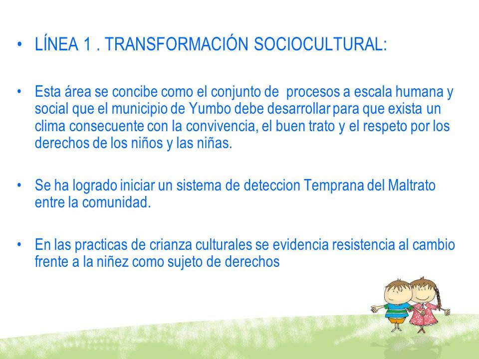LÍNEA 1. TRANSFORMACIÓN SOCIOCULTURAL: Esta área se concibe como el conjunto de procesos a escala humana y social que el municipio de Yumbo debe desar