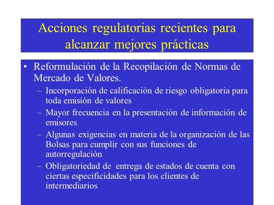 Acciones regulatorias recientes para alcanzar mejores prácticas Reformulación de la Recopilación de Normas de Mercado de Valores.
