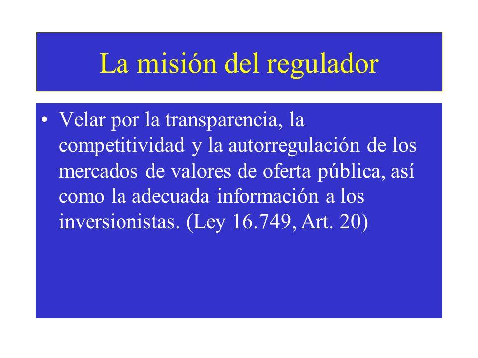La misión del regulador Velar por la transparencia, la competitividad y la autorregulación de los mercados de valores de oferta pública, así como la adecuada información a los inversionistas.