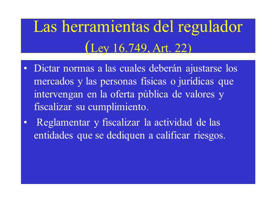 Atribuciones del regulador (Ley 16.749, Art.